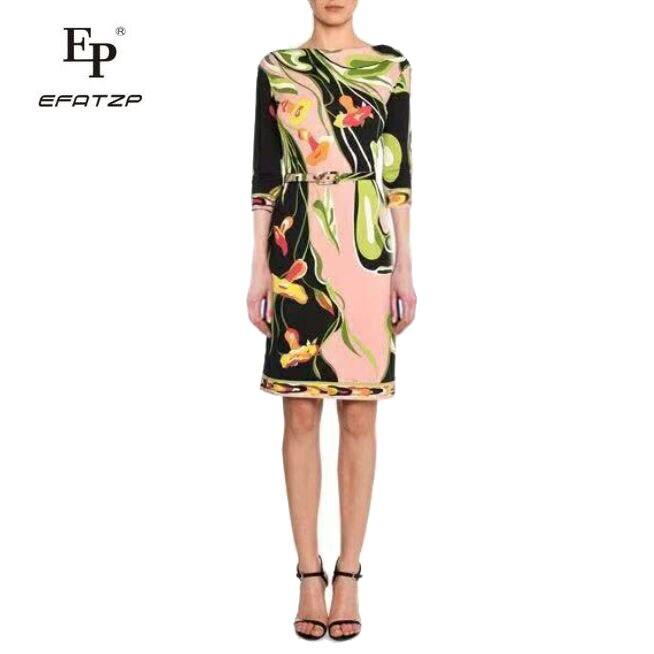 Nowych moda 2018 projektant sukienka damska 3/4 rękawy kwiaty drukuj XXL Stretch Jersey cienki jedwab dzień sukienka w Suknie od Odzież damska na  Grupa 1
