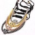 1 шт. Известные Бренд мужской браслет Проложить Установка CZ Leopard Глава Разъем и 4 мм Круглый Шарик Плетение Макраме Мужчины браслет