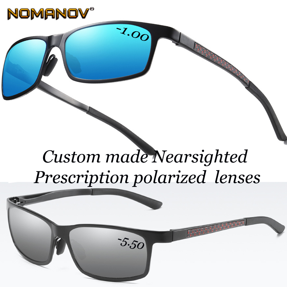 AL-MG Alloy Shield Men Women Sun Glasses Polarized Mirror Sunglasses Custom Made Myopia Minus Prescription Lens -1 To -6