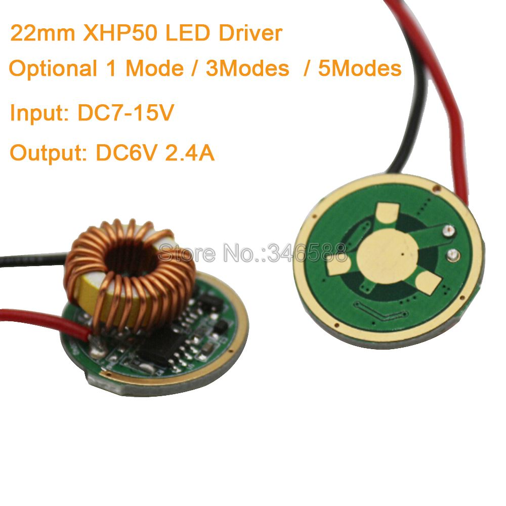 22mm Cree XHP50 LED Driver Input DC7-15V (12V) Output 6V 2.4A 1 Mode / 3 Modes / 5 Modes For XHP50 6V High Power LED Emitter