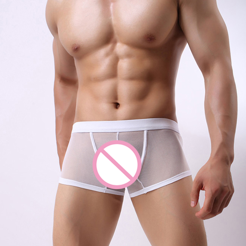 Boxers Mens Lace Mesh Sheer Transparent Underwear Shorts Sexy Breathable Underpants Comfortable Male Trunks Cueca Panties