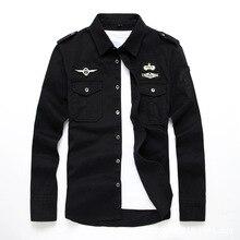 Наивысшего качества Модные мужские ВВС Военный хлопковые рубашки с длинным рукавом форма рубашки 5XL 6XL CCL81
