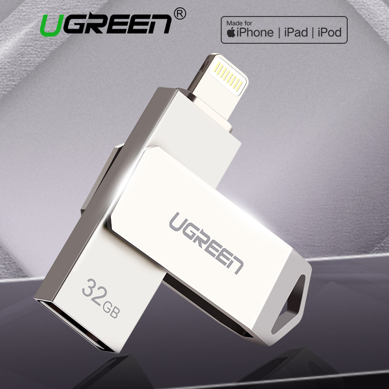 Ugreen USB Flash Drive Pendrive USB para iPhone Xs Max X 8 7 6 iPad 16/32/64 /Pen drive de 128 GB Memory Stick USB Key Ifm Relâmpago