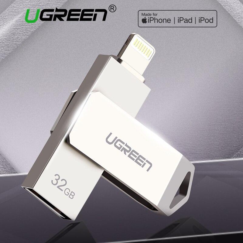 Ugreen USB Flash Drive Memoria USB Para IPhone Xs Max X 8 7 6 IPad 16/32/64 /128 GB De Memoria USB MFi Lightning Pen Drive
