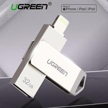 Ugreen محرك فلاش USB USB بندريف آيفون Xs ماكس X 8 7 6 باد 16/32/64/128 جيجابايت ذاكرة عصا ذاكرة يو إس بي على شكل مفتاح MFi البرق القلم محرك