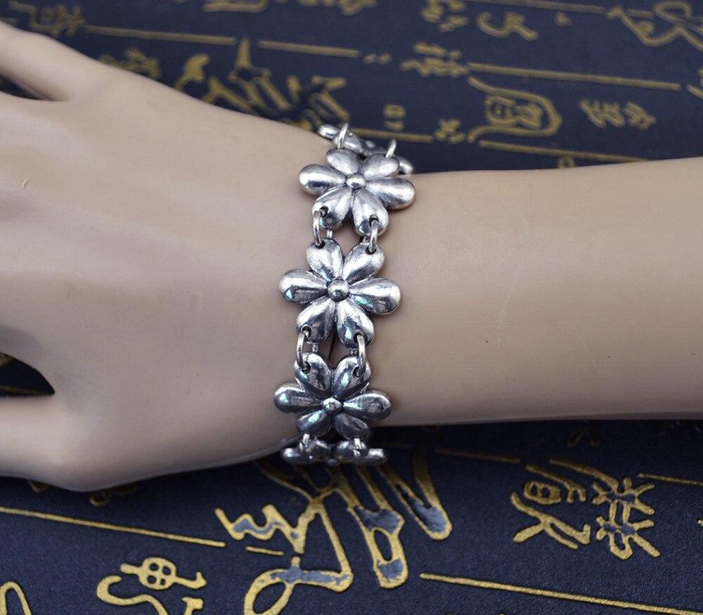 Ethnic Vintage Summer Jewelry Bracelets Bangles Accessoires Turkish Antique Silver Flower Friendship Bracelets for Women