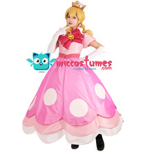 Peach Peachette Cosplay Costume Pink Dress Woman Halloween Outfit