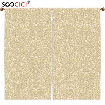 Window Curtains Treatments 2 Panels,Beige Decor Unusual Swirled Floral Patterns Oriental Asian Style Ethnic Motifs Boho