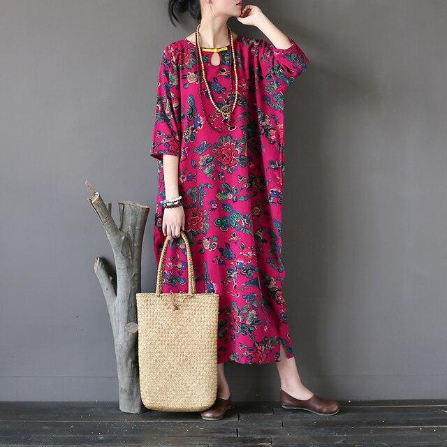 8847cb0796 2017 Lato Jesień Vestidos Kobiety W Stylu Vintage Drukuj Pościel Bawełniana  Sukienka na co dzień Luźne