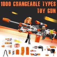 1000 Değiştirilebilir Kombinasyonu Büyük Makineli tüfek Patlamaları Köpük EVA Elektrikli Silah Yumuşak Mermi Oyuncak ile Uyumlu N strike Modülü
