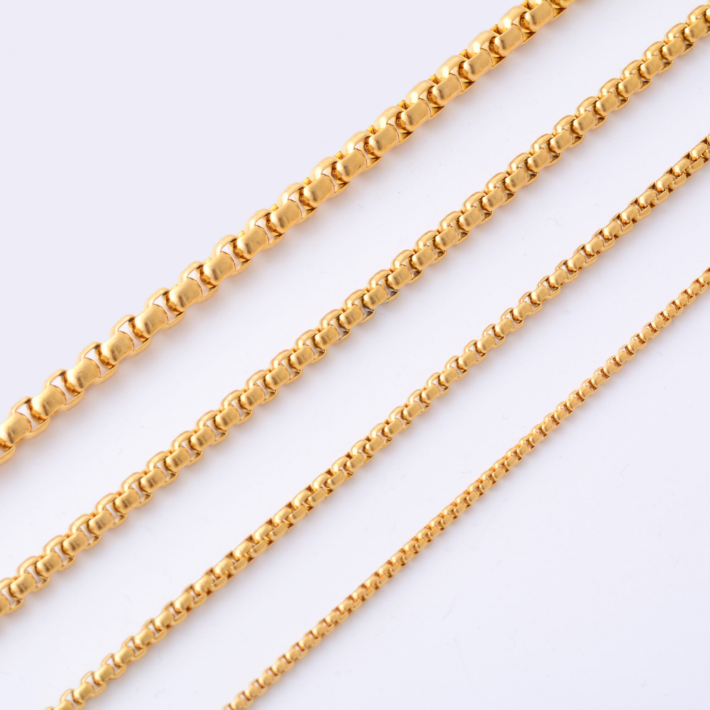 Fashion High Quality Gold Color Stainless Steel Necklace For Women Men Gold Jewelry  Chain 1e8622a926