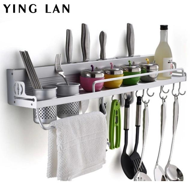 1PC Space Aluminium Kitchen Shelf, Kitchen Rack Cooking Utensil Tools Hook Rack  Kitchen Holder U0026