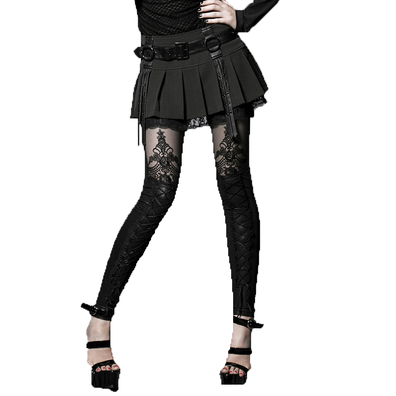 Gothic Women Sexy Flocking Bind Lace Leggings Fashion Female Black Casual Slim-Fitting Pants Net Cloth Embroidered