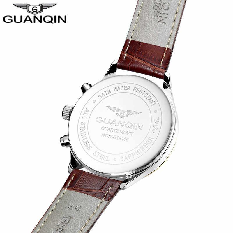 2018 גברים שעונים למעלה מותג יוקרה GUANQIN צבאי ספורט זוהר שעוני יד הכרונוגרף עור קוורץ שעון relog
