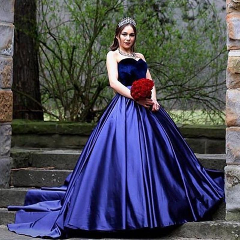 Blue Velvet Wedding Gown with Train – fashion dresses