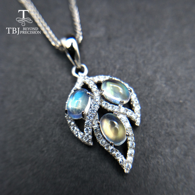 TBJ Natural moonstone Gemstone Pendant in 925 sterling silver Tree leaf pendant for women as anniversary