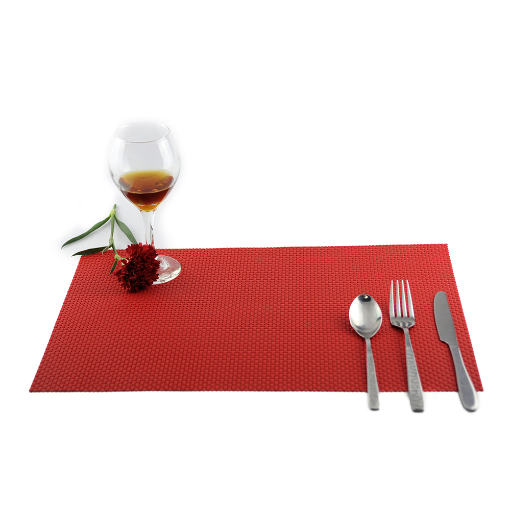 4 pcs pvc placemats dining room heat insulation table washable non slip decor woven place mats - Dining room table mats ...