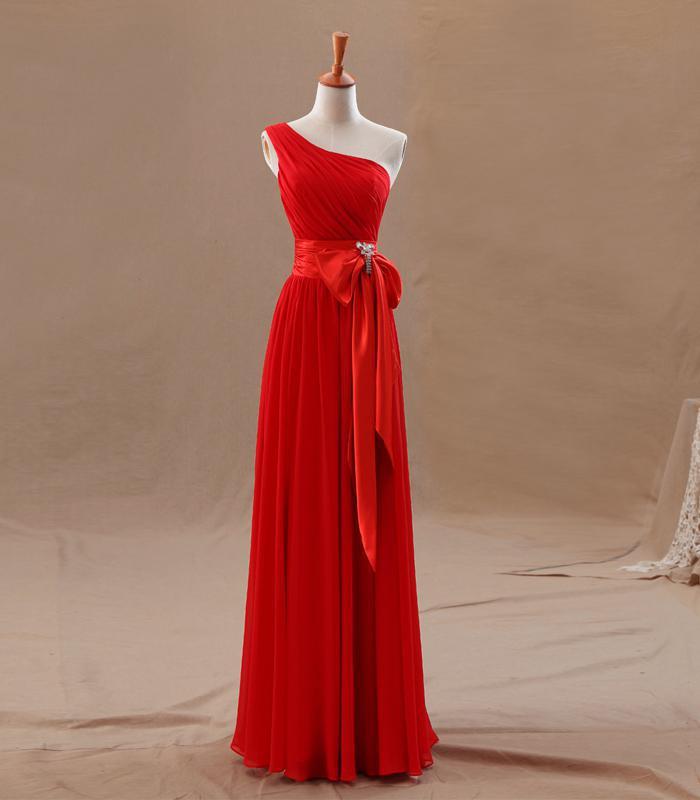 2016 Crveni šampanjac djeveruše haljine uk uske nabora elegantan - Vjenčanje večernje haljine - Foto 3