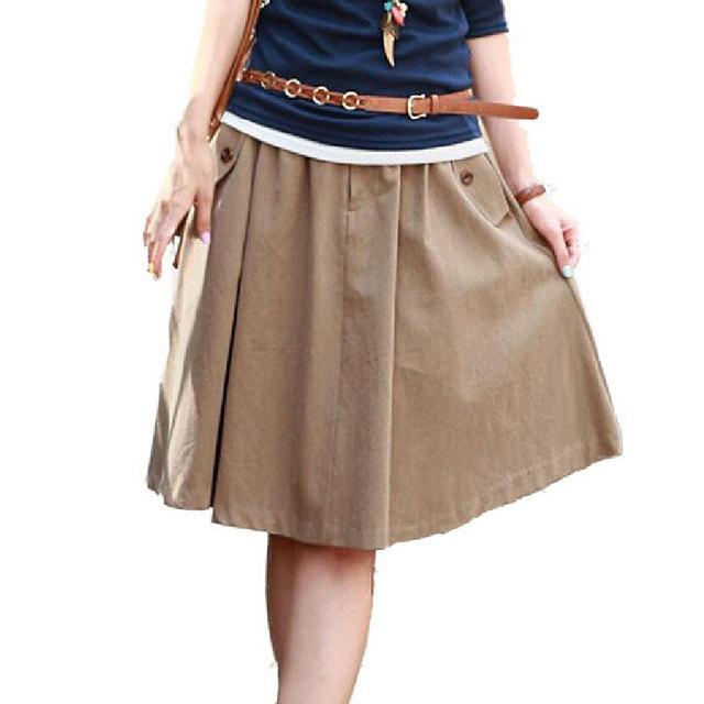 Plus size Saia com Bolsos para Mulheres Roupas Casuais 2017 moda feminina cor sólida big expansão plissado a line midi saias
