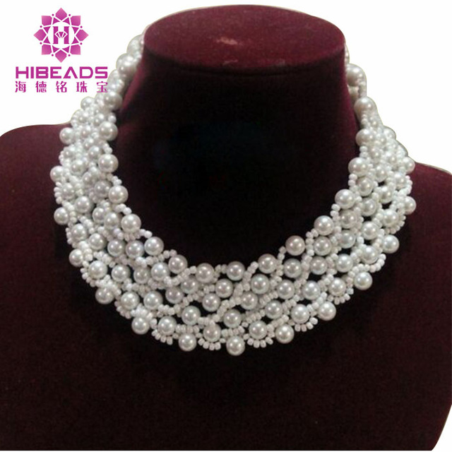 цена Handmade Chunky Beads Party Necklace Shell Freshwater Pearls Choker Necklace Wedding Women Necklace Jewelry QW1175