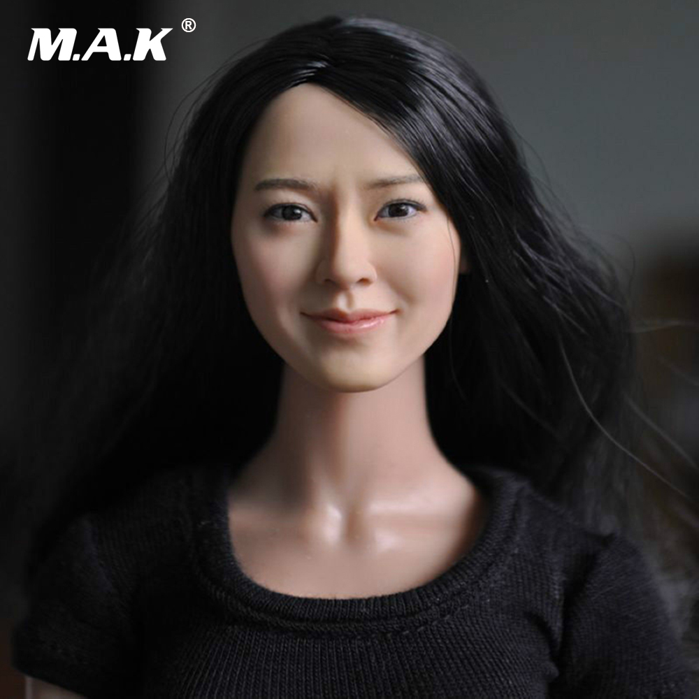 1//6 Asian Female Head Sculpt cheveux bruns Superduck pour Hot Toys PHICEN Figure USA