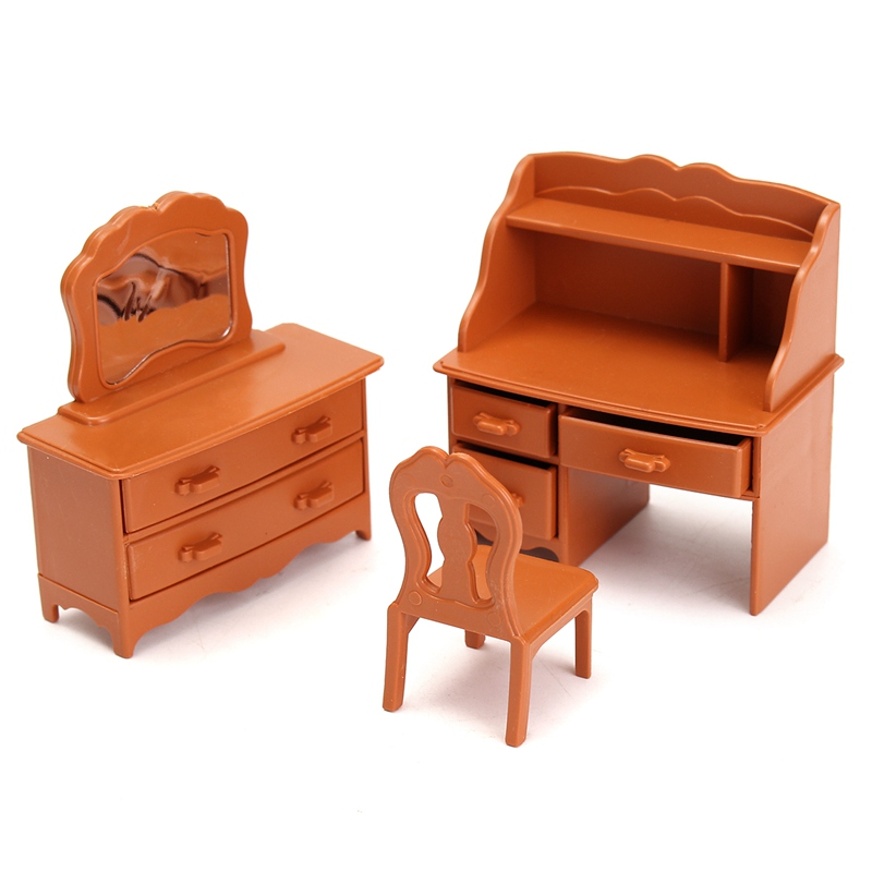 Fashion Miniature Bedroom Furniture Set Dresser Desk Mirror Furniture Ornaments Figurines Toys for Kids Christmas Gift Craft