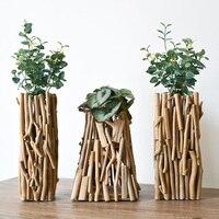 Handmade wooden geometric vase decoration Fake flower decoration Living room potted flower arrangement With lights