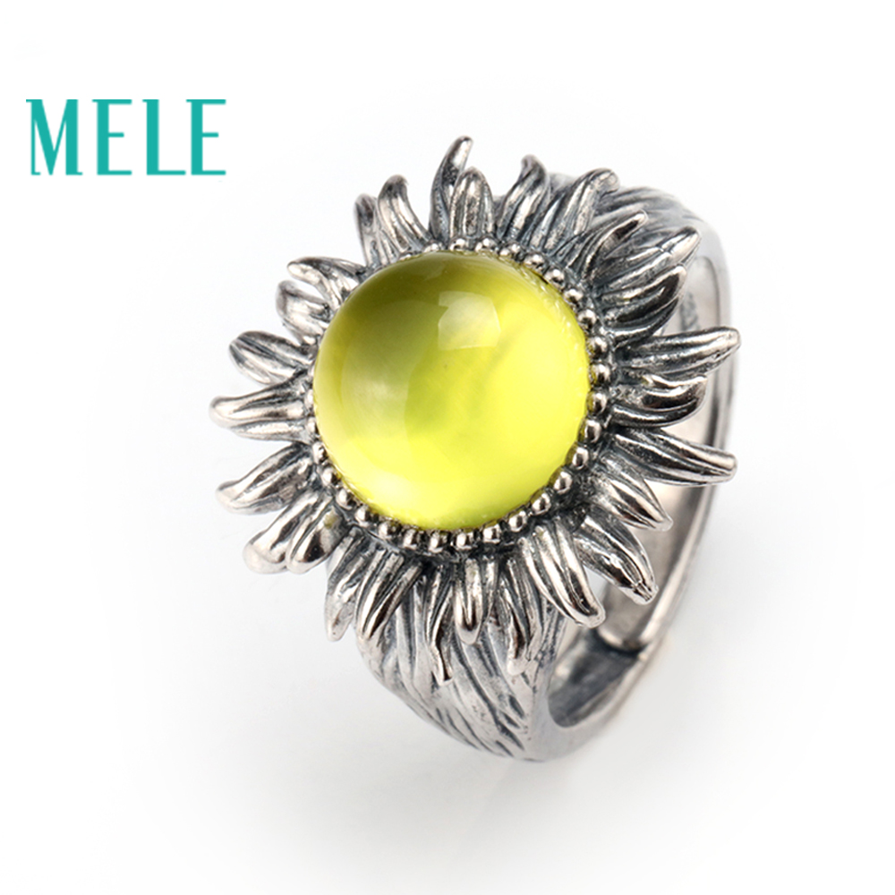 Natural yellow prehnite silver ring round 10mm fashion design and top quality flexible ring size fashion