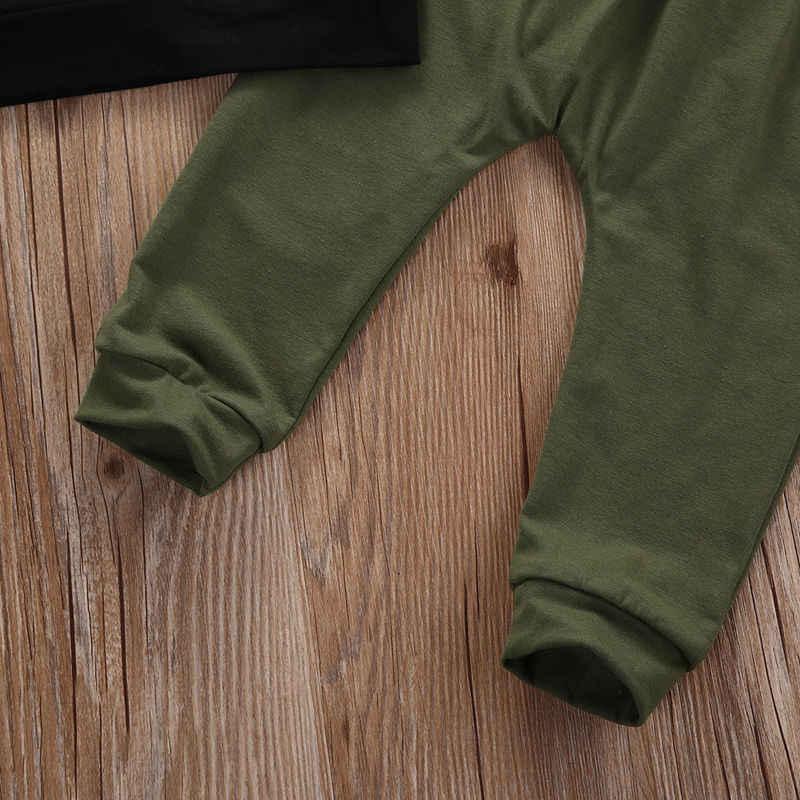 Pudcoco, conjunto de 2 uds de moda para niños pequeños, ropa para bebés, ropa para niños con estampado de letras de otoño, camiseta de manga larga + Pantalones, trajes 0-3Y