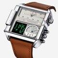 Квадратные часы мужские  светодиодные  водонепроницаемые  с несколькими временными зонами  брендовые  Роскошные  спортивные