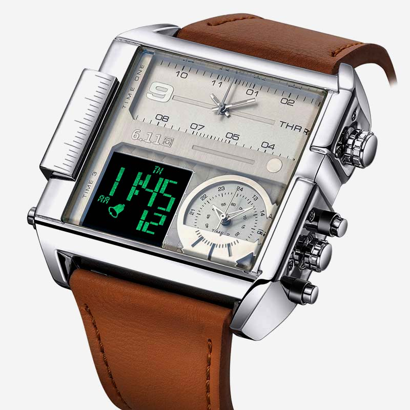 Square Watches Men Led Waterproof Multiple Time Zone Mens Watches Brand Luxury Relogio Masculino Montre Homme Sport Watch weide mens watches luxury men quartz digital sport watchr waterproof new style watches relogio military multiple time zone watch
