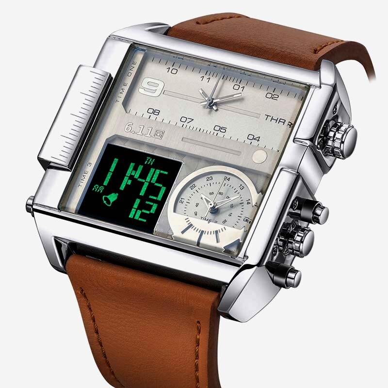 Square relojes hombres Led impermeables múltiples zona horaria relojes hombre marca de lujo Relogio Masculino Montre Homme reloj del deporte