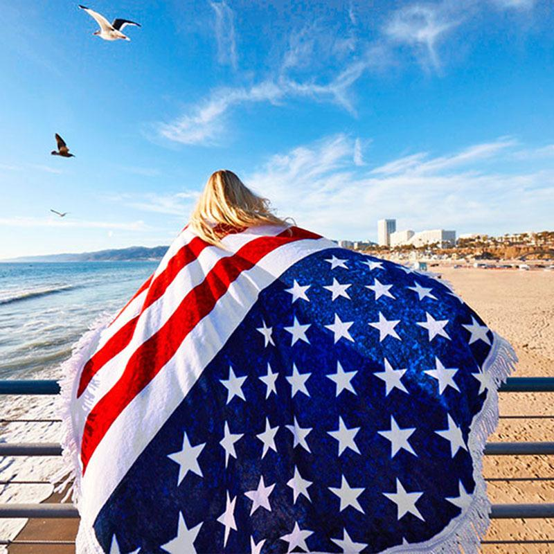 2017 Men Women New American Flag Printed Pashmina Tassel Beach Towel Sun Blanket Popular Print Male And Female Wraps