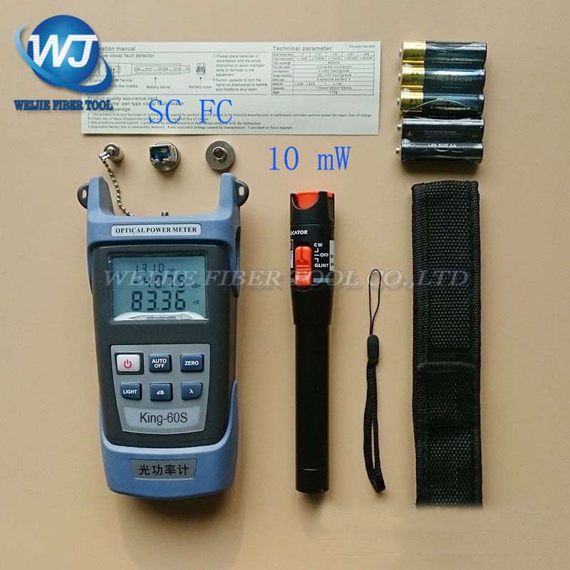 Kit de herramientas de fibra óptica 2 en 1 FTTH King-60S medidor de potencia óptica-70 A + 10dBm y 10 MW localizador de fallas visuales pluma de prueba de fibra óptica