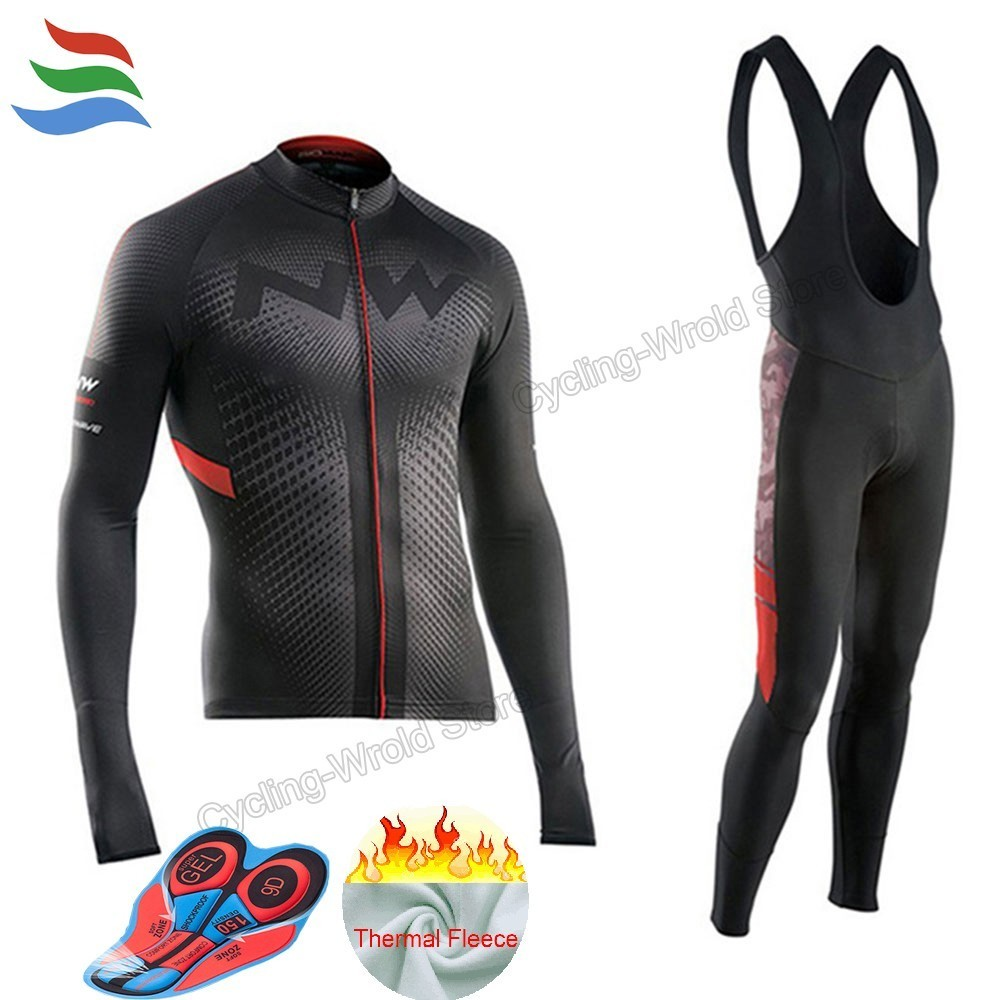 2017 Winter Thermal Fleece Cycling Jersey Long Sleeve Jerseys Cycling Bib Pants Set Bike Bicycle Cycling Clothes 3 Color #600 male team cycling jerseys autumn cycling clothes long sleeve bike jersey winter fleece bicycle riding suits free shipping