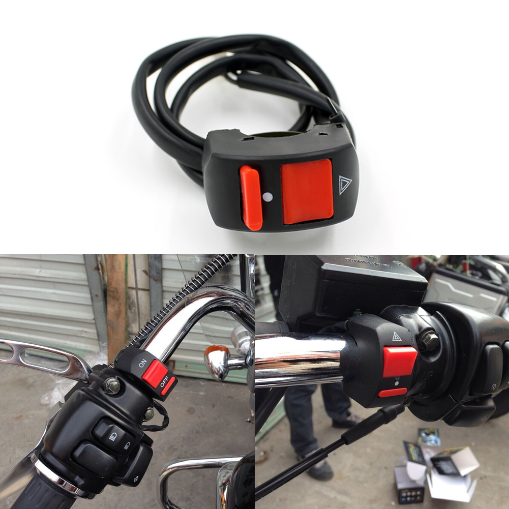 Universal Motorcycle Handlebar Light Switch ON-OFF Button Accident Hazard Light Switch 12V DC For Motorcycles ATVs Scooters ...