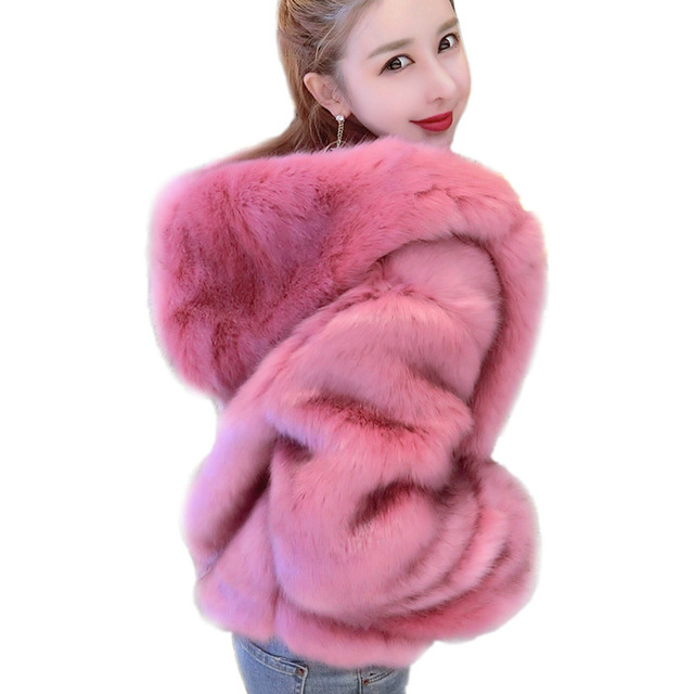 39e6fdb2a26 Warm Autumn Winter Faux Fox Fur Coats For Women Thicken Fashion Shorts  Hooded Jackets Black Pink