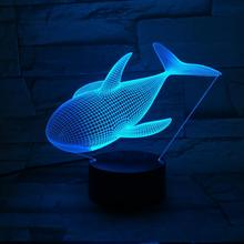 Whale Night Lamp 3D Illusion 7 Color Changing Decorative Light Child Kids Girl Gift Animals Fish Desk LED Night Light Bedside monkey skull smoking 3d led color night light changing lamp multi colored bulbing light acrylic 3d hologram illusion desk lamp