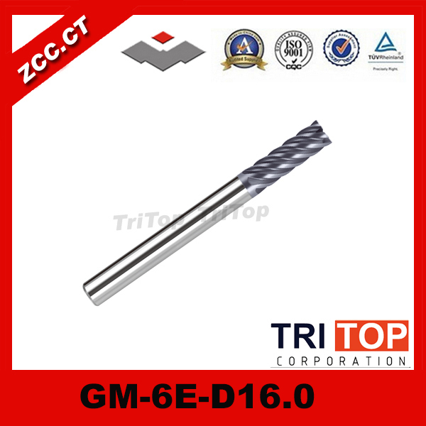 ZCC.CT GM-6E-D16.0  Cemented Carbide  6-flute flattened end mills with straight shank  machinery milling tools al 2el d16 0 zcc ct cemented carbide 2 flute flattened cnc end mills long cutting edge with straight shank milling tools