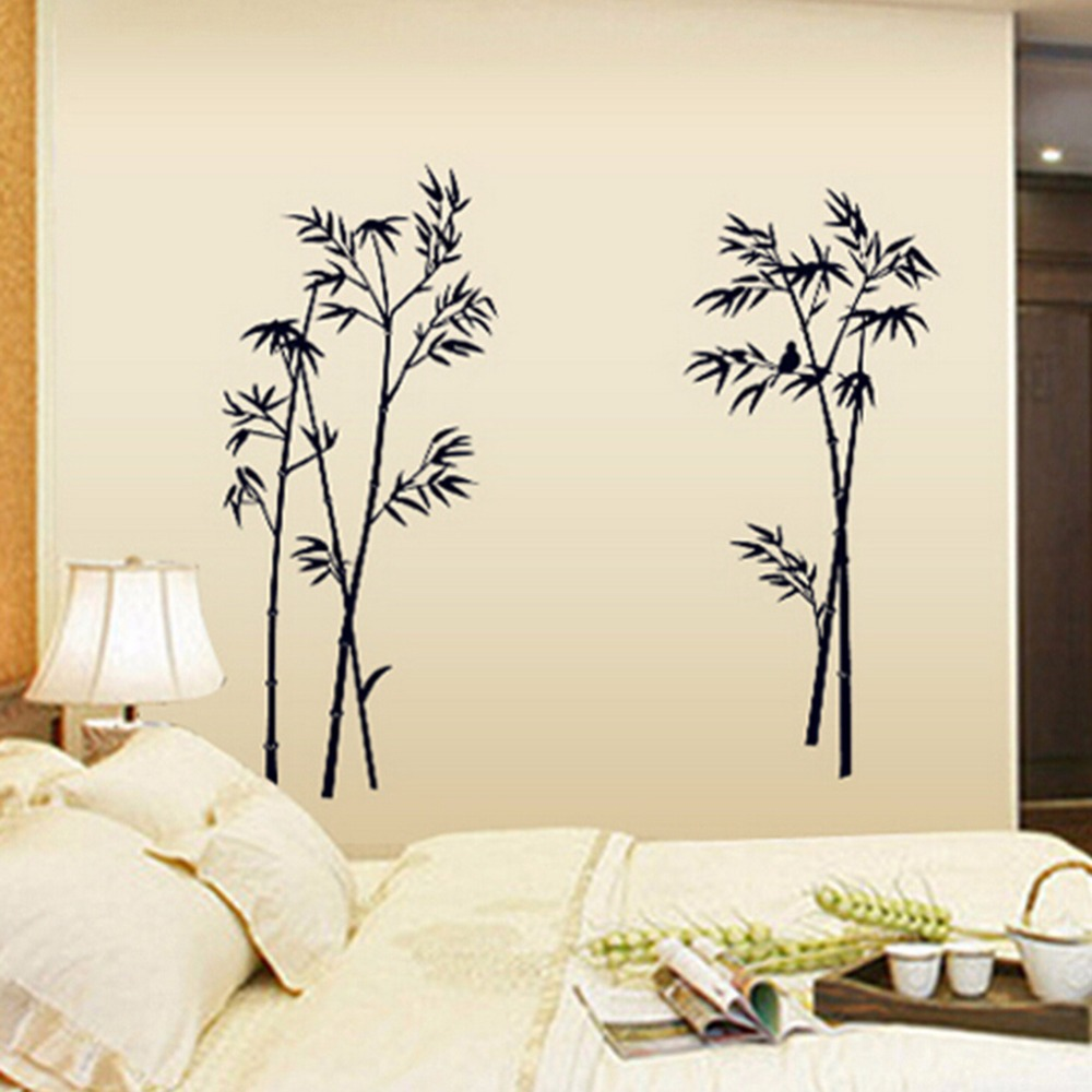 Ink Painting Bamboo Wall <font><b>Decor</b></font> DIY Removable Art Vinyl Black Bamboo Wall Sticker Decal Mural <font><b>Home</b></font> Room <font><b>Elegant</b></font> <font><b>Decor</b></font> for Bedroom