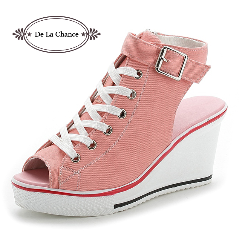 New Ladies Platform Sandals Summer Open Toe Sandals Women's Shoes Slope With Platform Wedge Sandals Pink Black White Red