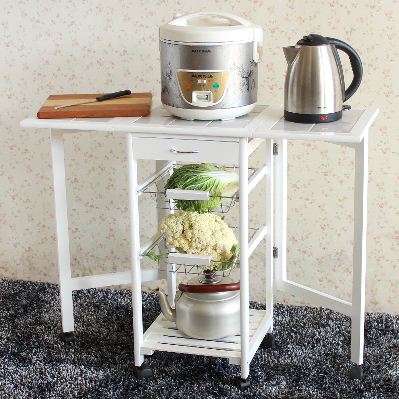 Portable Folding Kitchen Rolling Tile Top Drop Leaf Storage Trolley Cart White Simple Modern Fashion Shelf Rack