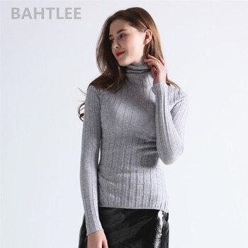 5f2f38aa0437 BAHTLEE 2018 Lwomen es Merino lana suéter de cuello alto del todo-fósforo  de jerseys y suéteres