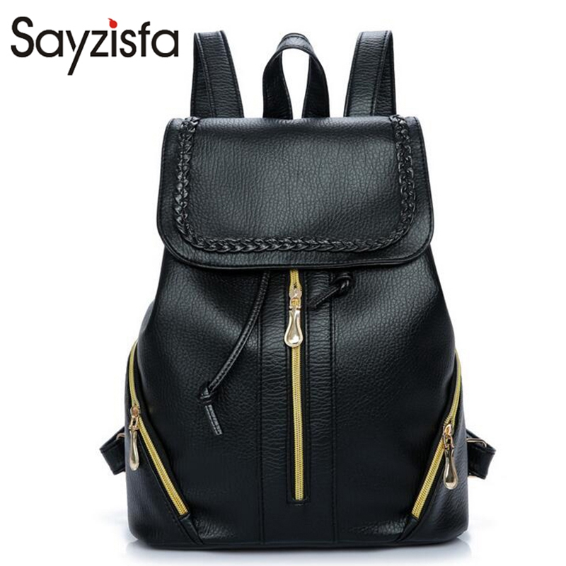 Sayzisfa Brand New Women Backpack Leather Black Backpacks Girls School bookBags college student casual bags Female Mochila T353 menghuo casual backpacks embroidery girls school bag female backpack school shoulder bags teenage girls college student bag