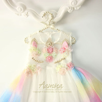 Every Girls Want Unicorn Baby Girls Dress Flowers Embroidery Raibow Colorful Toddler Summer Princess Kids Dresses