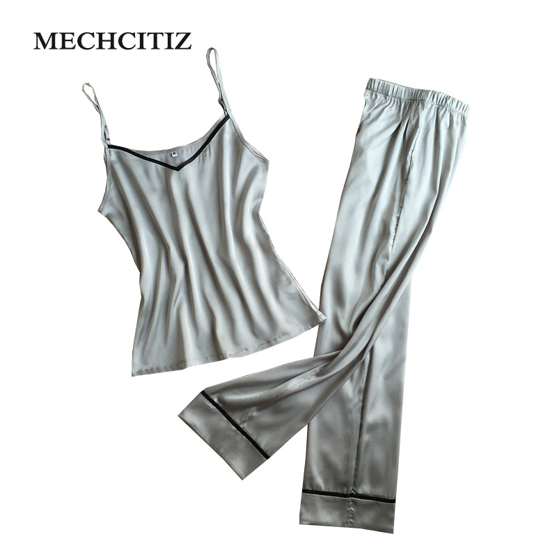 MECHCITIZ 2018 Pyjamas women Pajamas Set Top Long Pant Silk Lace Bow V neck  Sleepwear Lace Lingerie Sleeveless Women Lingerie-in Pajama Sets from  Underwear ... 0c0ea4c9f