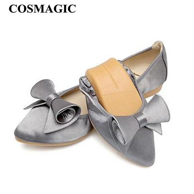 COSMAGIC 2017 New Women Soft Bowtie Silk Ballet Flats Shoe Green Gray Pink  Slip on Fashion Pointed Toe Folding Shoe Plus Size 9773701d3b77