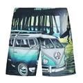 Mens Del Coche 3D print summer beach shorts hombres marca homme pantacourt pantalones cortos cortocircuitos de vacaciones junto al mar