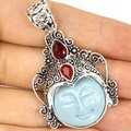 Moon Goddess Turquoise Color Face, Blood Ruby SheCrown  Silver Pendant 52x29mm