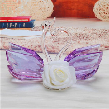 110mm k9 Crystal Swan Crafts Glass Paperweight Fengshui Ornaments Figurines  Wedding Party Decor Gifts Souvenir statue